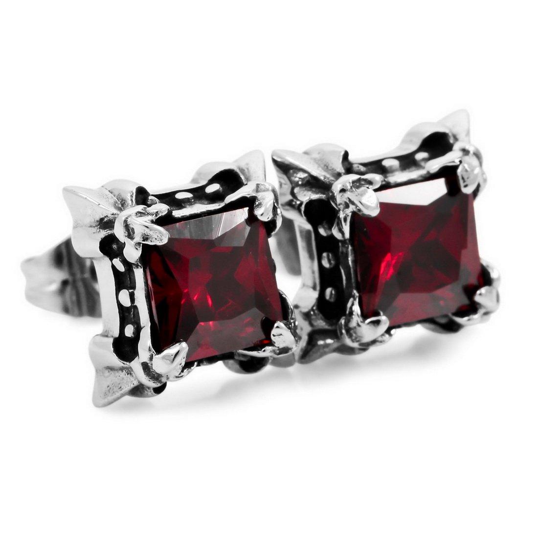 INBLUE Men's Stainless Steel Stud Earrings CZ Silver Tone Black Red Purple Green Dragon Claw Square INBLUE Jewelry mnp069-1
