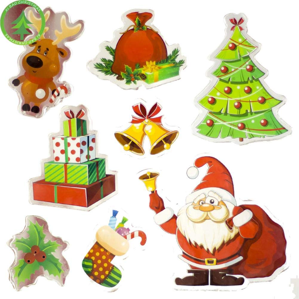 Biback Christmas Decoration Santa Claus Christmas Tree Stickers Decoration