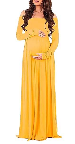 Huixin Vestido Premama Largo Señoras Elegante Barco Cuello Sin Tirantes Manga Largo Vestido Premama Fotografie Vestido
