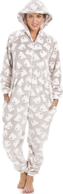 Camille - Pijama de una Pieza con Capucha - Forro Polar Supersuave - Estampado de Ositos - Color visón