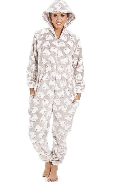 Camille - Pijama de una pieza con capucha - Forro polar supersuave - Estampado de ositos