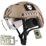 ATAIRSOFT Fast PJタイプ タクティカル アウトドア エアソフトヘルメット 通気性 多機能サバゲーヘルメットゴーグル付き マウントレール付き ABS製 戦術ヘルメット
