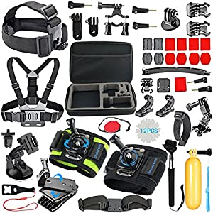 SmilePowo Outdoor Sports Camera Accessories for GoPro Hero 5 / Session 6/5/4/3/2/1,AKASO EK7000,EK5000,SJCAM,DBPOWER,xiaomi YI,Carrying Case,Camera Bundle (51-in-1)