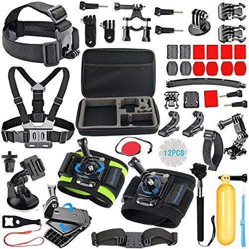 SmilePowo GOPRO HERO Camera Accessories for GoPro Hero6 5 4 Black - HERO Session - HERO5 4 3 - HERO (2018) - Gopro Fusion - AKASO - Campark - SJCAM - DBPOWER - xiaomi YI - Head Strap - Chest Mount Harness - Carrying Case