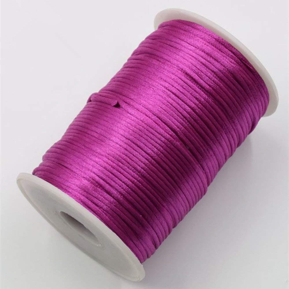 FQTANJU 2mm x 100 yards premium Quality Rattail Nylon Satin Cord Roll Indigo Kumihimo Rattail,Chinese Knot