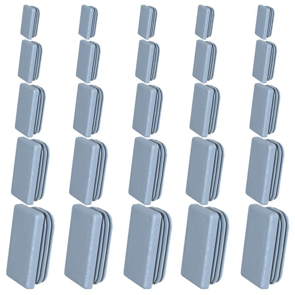 5X Ribbed Insert Plug END Cap Rectangular Tube 20x10 to 60x50MM Grey 60x15mm
