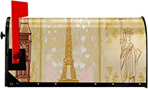 """Love Lovely Mailbox Covers Magnetic Retro Big Ben, Eiffel Tower, Statue of Liberty Outdoor 21""""x 18"""" for Home Garden Yard"""