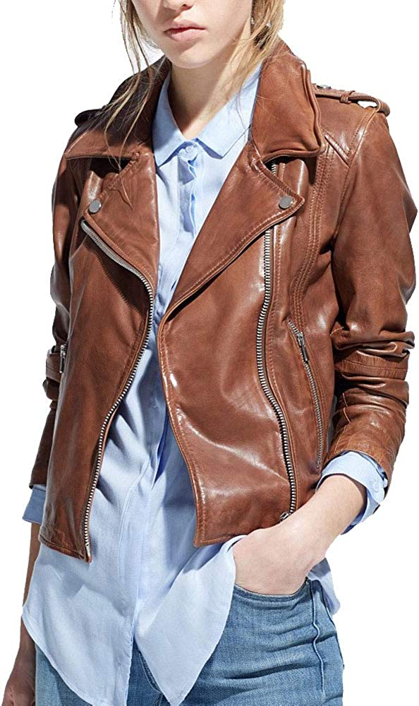 Womens Brown Racer Genuine Lamsbksin Motorcycle Biker Leather Jackets for Women