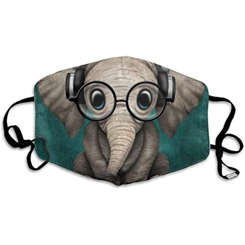 Picture of Women Men Teens Washable Reusable Face Masks with Elastic Ear Loop,   Anti Dust Pollution Face Mask (Cute Elephant with Earphone)