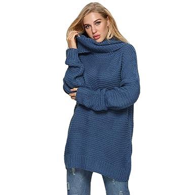 Cinnamou Ropa Abrigos Mujer Invierno 2018 Jersey Color Block Suéter Mujer Camiseta Tunica de Punto en Cuello Alto y Manga Larga OversizeTalla Grande: ...