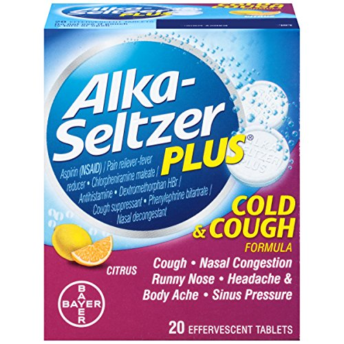 Alka-Seltzer Plus Cold & Cough Effervescent, 20 Count (Pack of 2) (Alka And Sinus Cold Seltzer)