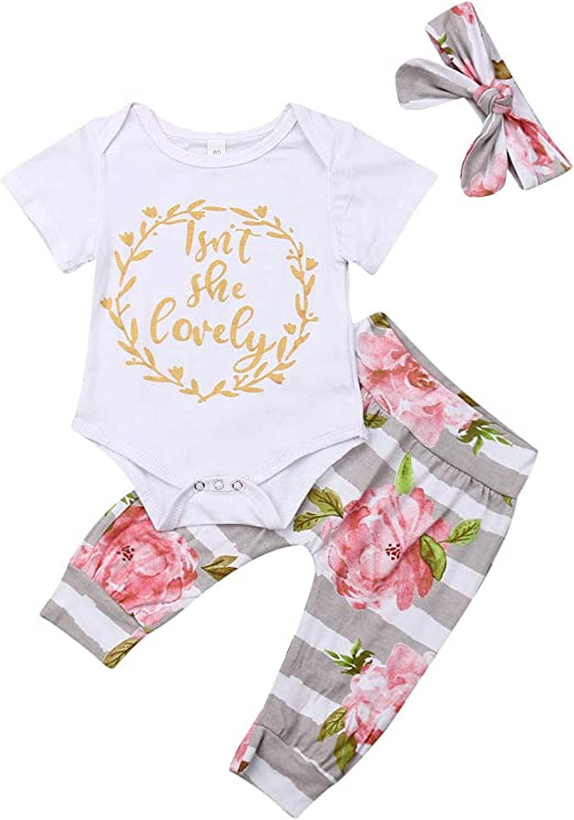 Toddler Newborn Baby Girl Isnt She Lovely Letter Print Romper Ruffle Long Sleeve Jumpsuit Floral Pants and Headband Outfit