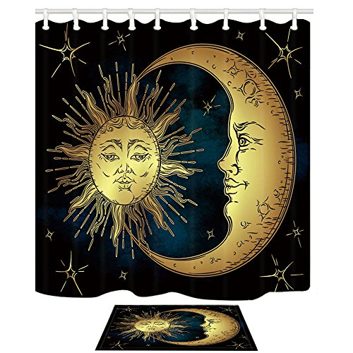 HNMQ Boho Chic Art Shower Curtain, Golden Sun Moon Stars Over Blue Black Sky Antique Style,69X70in Mildew Resistant Fabric Bathroom Curtain Set 15.7x23.6in Flannel Non-Slip Floor Doormat Bath Rugs