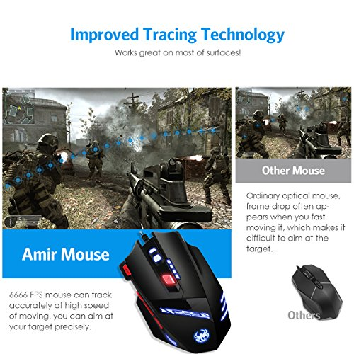 61trCofW8EL - AMIR Gaming Mouse, USB Wired Optical Gaming Mice with 9200 DPI High Precision, 6 Adjustable DPI 1000-9200 + 8 Adjustable Weights + 6 Changing LED + 8 Buttons for Laptop/ PC/ MacBook/ Computer