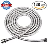 #5: HOMEIDEAS 138-Inch Shower Hose Stainless Steel Extra Long Shower Head Hose Bathroom Handheld Showerhead Sprayer Extension Replacement,Polished Chrome