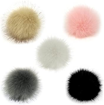 NEW FLUFFY COLOURED FAUX FUR DETACHABLE POM POM FOR WINTER HATS