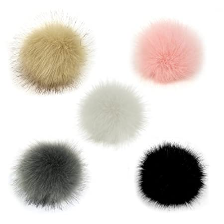 74fc3df7e Gosear 5 Pcs Faux Fur Pom Poms for Hats - 10cm Faux Fur Fluffy Pom Pom Ball  with Elastic Cord Removable Knitting Hat Accessories for Woolen Knit ...