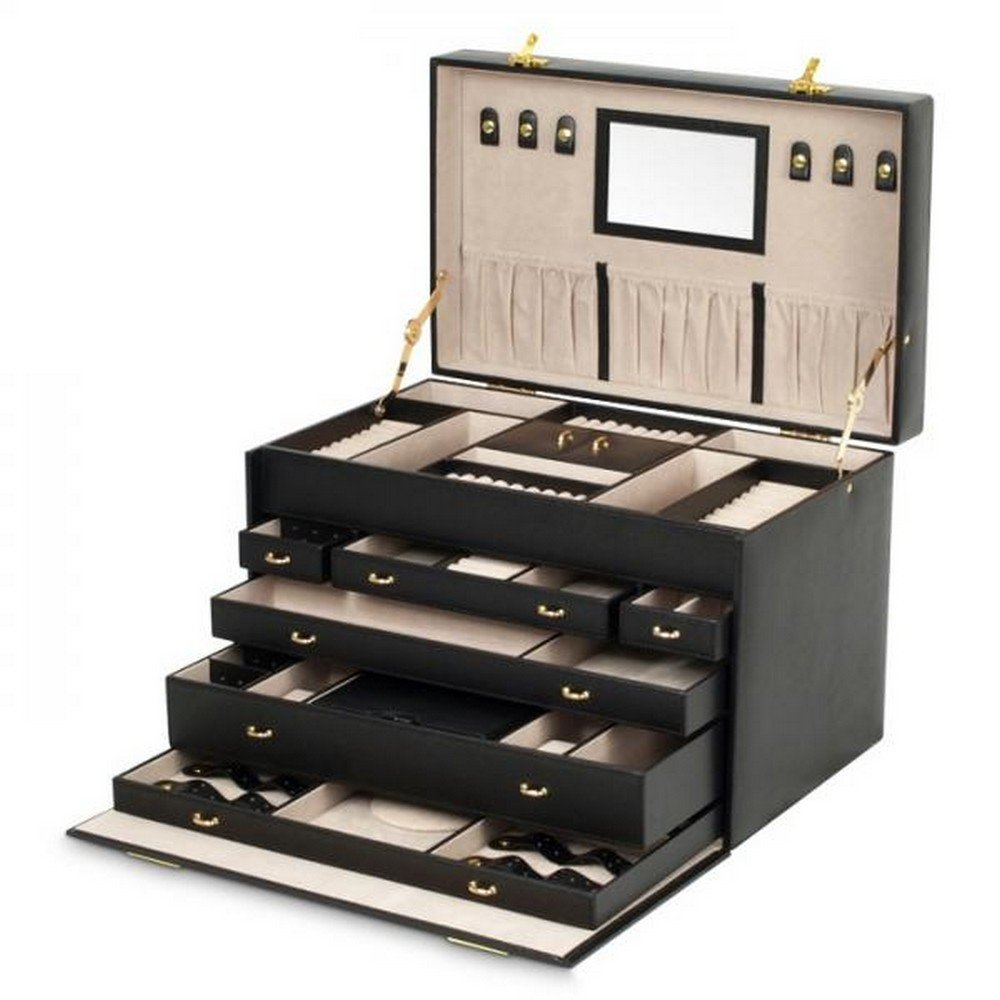 Large Mirrored Jewelry Box with 6 Divided Drawers, Removable Travel Case and Key Lock in 2 Colors