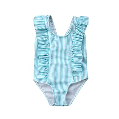 697f70bee070a ITFABS Newborn Baby Girl Floral Swimsuit Ruffles Bathing Suit Bikini  Striped Swimwear for Baby Girls Beach