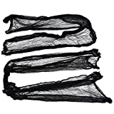 "Set of 2 Black Creepy Scary Gauze Cloth Drape doorways walls entryways Halloween 30""x84"" With Spiders White Webs"