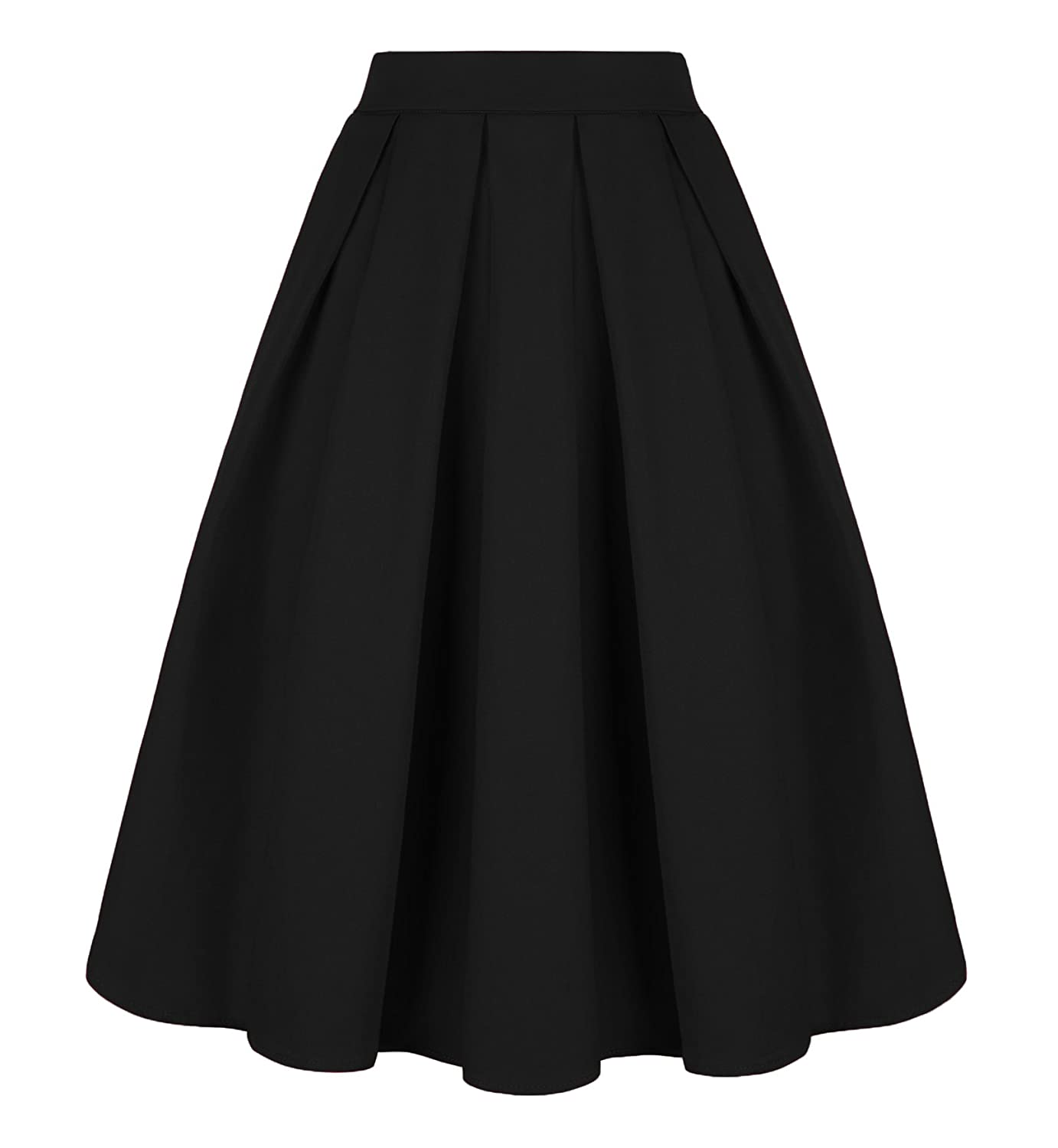 a7f0ce954df Tandisk Women s Vintage A-line Printed Pleated Flared Midi Skirts with  Pockets at Amazon Women s Clothing store