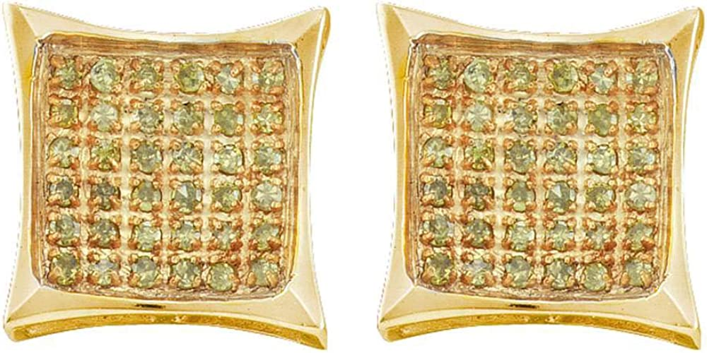 10kt Yellow Gold Mens Round Color Enhanced Diamond Square Kite Cluster Earrings 1//10 Cttw