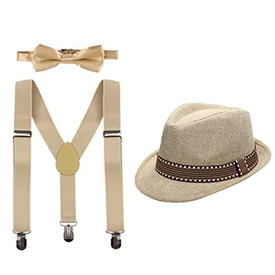 Little Boys Cake Smash Outfit Birthday Party Adjustable Y-Back Clip-on Suspender Straps + Pre-Tied Bow Tie Set with Matched Fedora Hat Formal Tuxedo Suit for Kids Baby Photo Shoot Costume Khaki 2-6T: Clothing