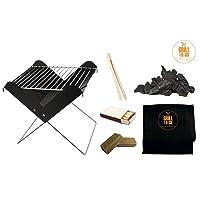Grill-Set Grill-Set schwarz klein Grill Zusammenstellung Camping Balkon Picknick ✔ eckig ✔ tragbar ✔ Grillen mit Holzkohle