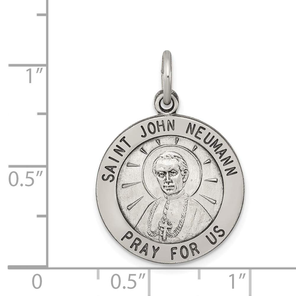 Sterling Silver Antiqued Saint John Neumann Medal Charm on an Adjustable Chain Necklace