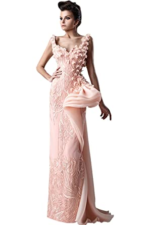 Amazon Newdeve Organza Mermaid Beads Light Pink Formal Gowns
