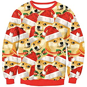 EnlaChic Women'S 3D Ugly Christmas Print Crew Neck Pullover Sweatshirt,Single Dog,S/M