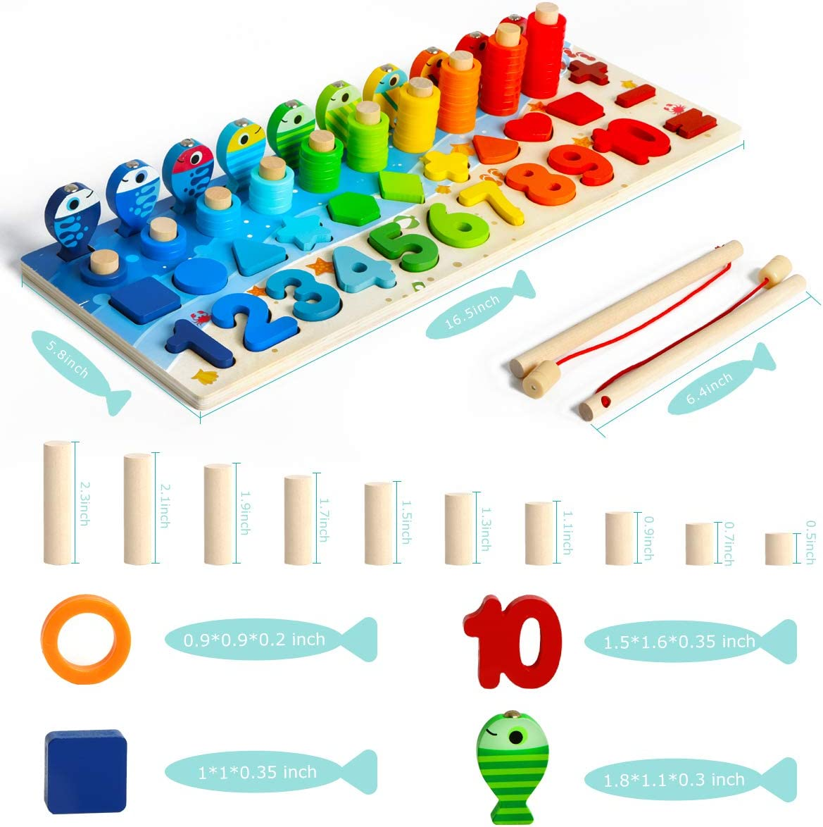 Fishing Game Math Toy for Age 3 4 5 6 Years olds Kids Wooden Number Puzzle Game Montessori Toys for Toddlers Preschool Educational Toddler Learning Wood Puzzles Sorting Toys for Boys and Girls