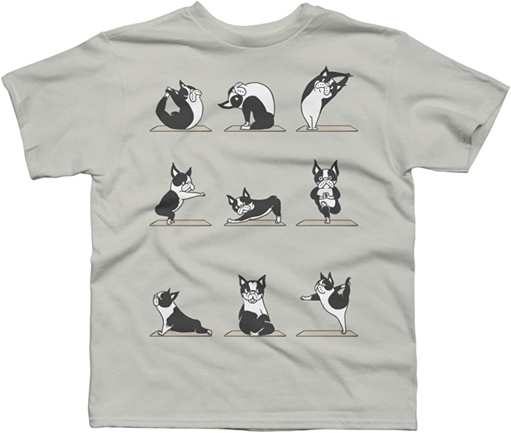 Design By Humans Boston Terriers Yoga Boys Youth Graphic T Shirt