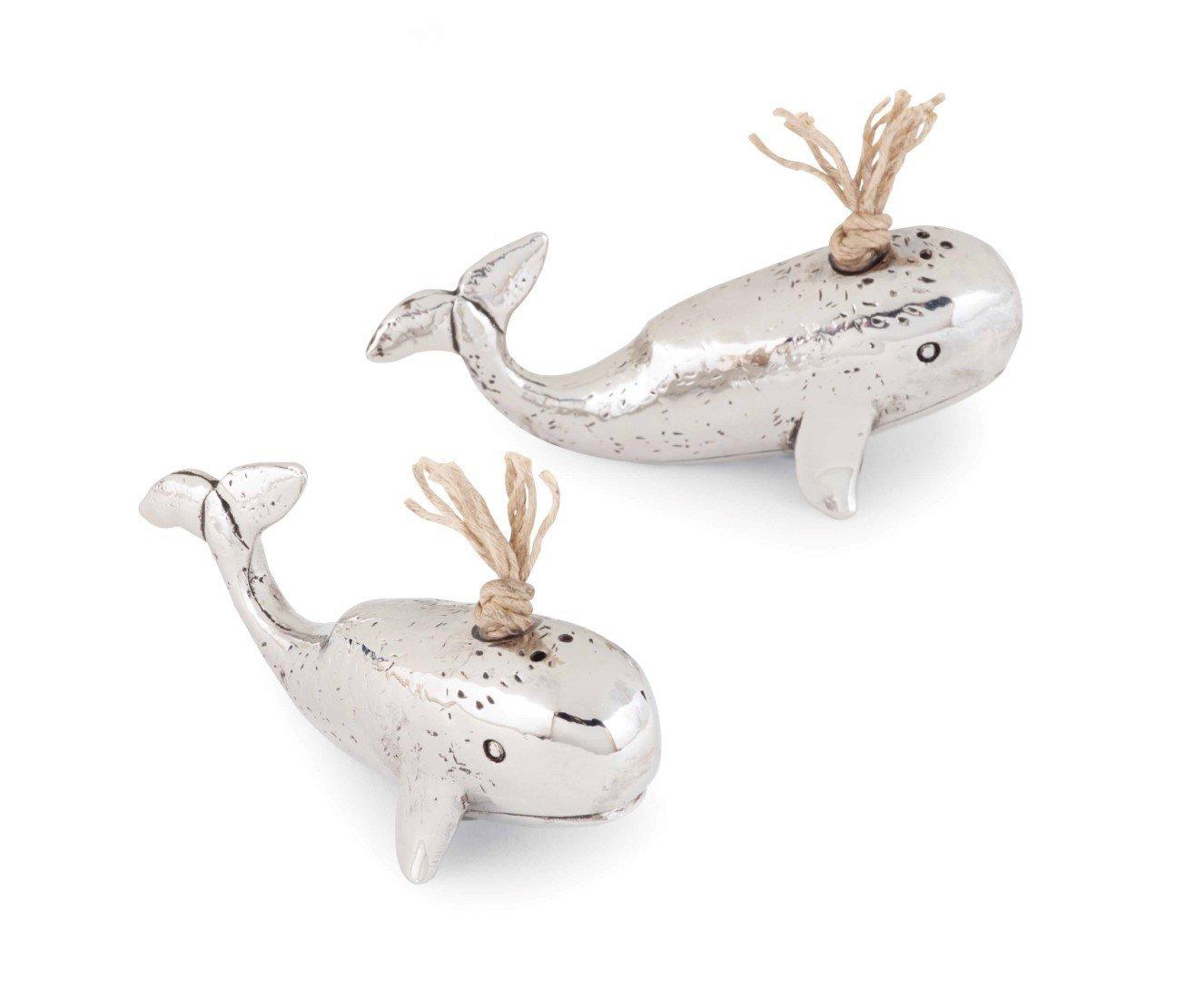 Mud Pie Anchors Aweigh Whale Salt and Pepper, Silver