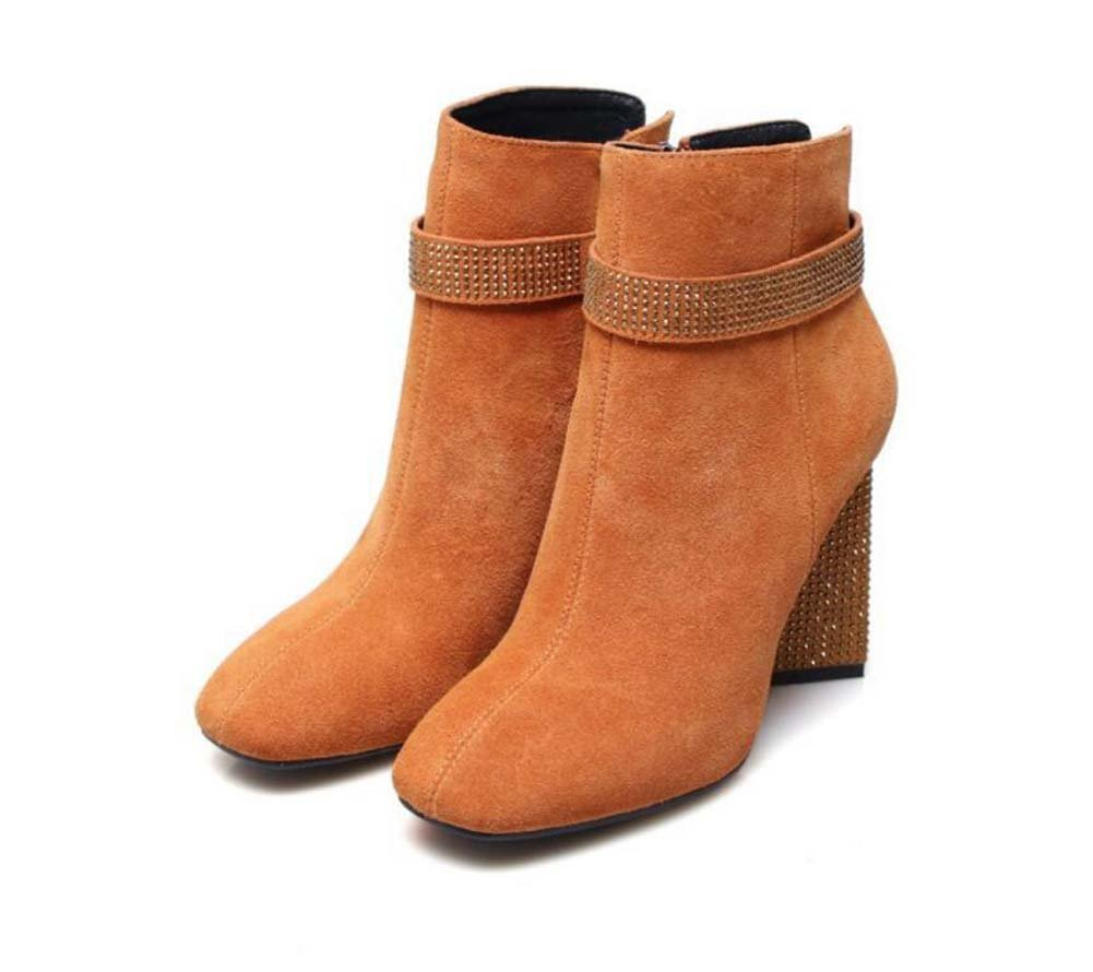Martin Boots Bottines 8.5cm Chunkly Heel Femmes Square Square Femmes Toe Seude Flash Drill Talon Zipper Robe Chaussures Casual Chaussures Court Chaussures 2017 Automne Hiver New Eu Taille 33-43 37|Chocolate+cashmere 4db2fe