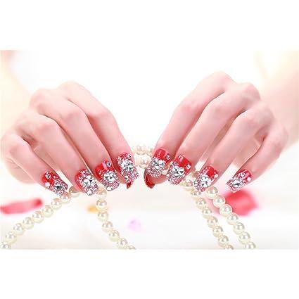 Oshide 24pcs/lot Full Cover Rojo Brillante Uñas Postizas Artificial con purpurina para decoración