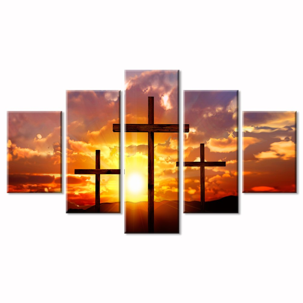"""VIIVEI Christian Sunset Crosses Cross Wall Art Christ Poster Canvas Prints Art Home Decor for Living Room Modern Pictures 5 Panel Large HD Printed Painting Artwork Framed Ready to Hang (60"""" Wx32 H)"""