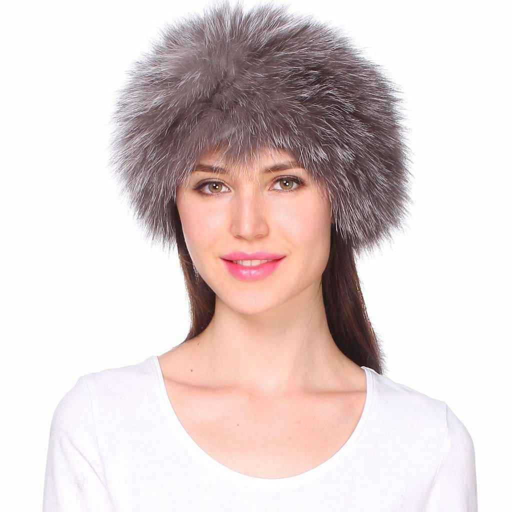 Ferand Women's Genuine Fox Knitted Fur Winter Headband Neck Warmer Scarf with pom poms