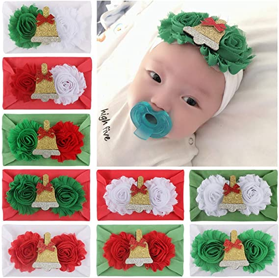 Amaone Xmas Toddler Headbands For Girls Boy Cute Baby Headdress Soft Stretchy Newborn Headdress For Christmas Christening Photography Props Hair Accessories Infants Headwear