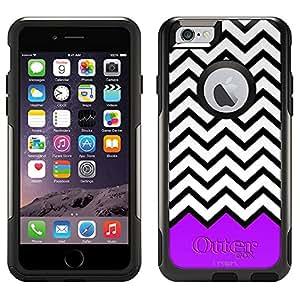Skin Decal for Otterbox Commuter Apple iPhone 6 Case - Chevron Black White Purple Ribon