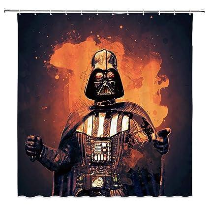 Shower Curtain For Star Wars Darth Vader Dark Terror Armed Cool Comic Design Black Orange Bathroom