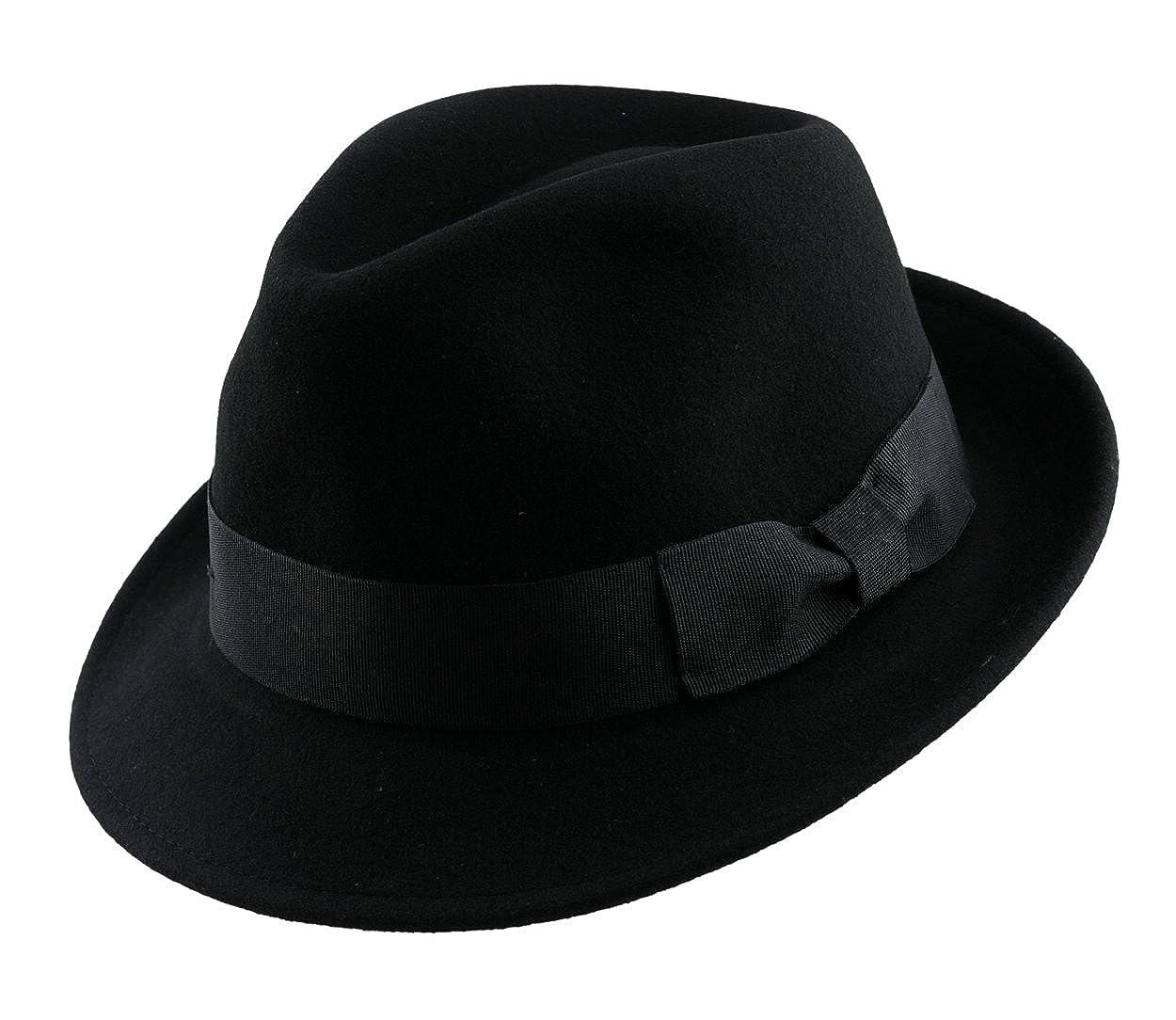 Mens Soft & Crushable Wool Felt Fedora Hat Bk HE02