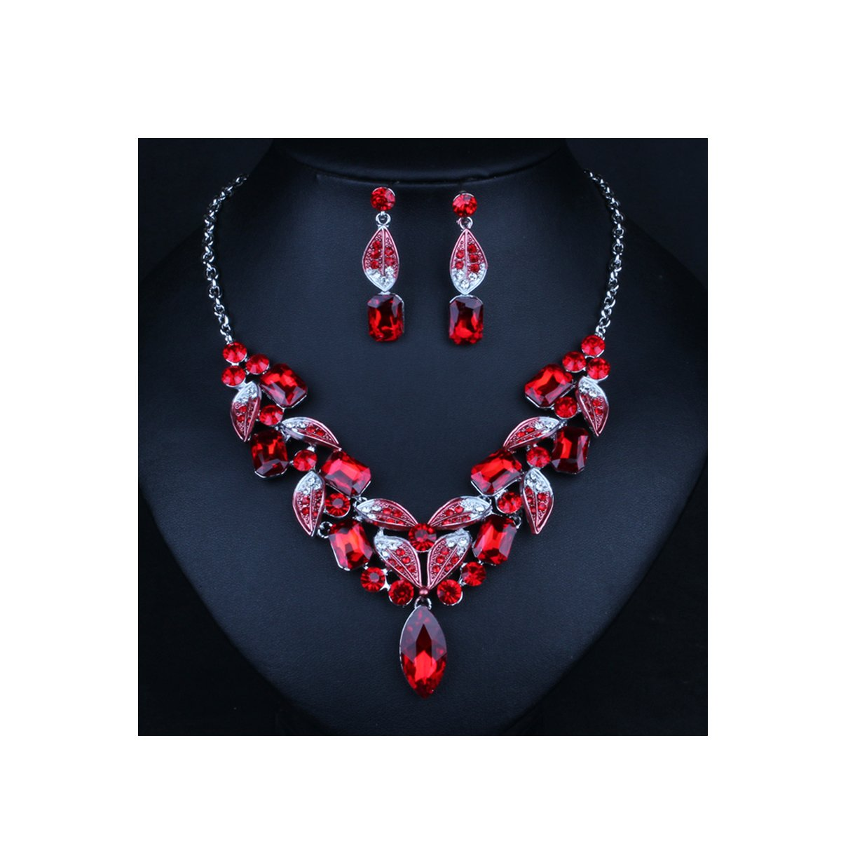 ENUUNO Costume jewelry Crystal Choker Pendant Statement Chain Charm Necklace and Earrings Sets (Red, alloy)