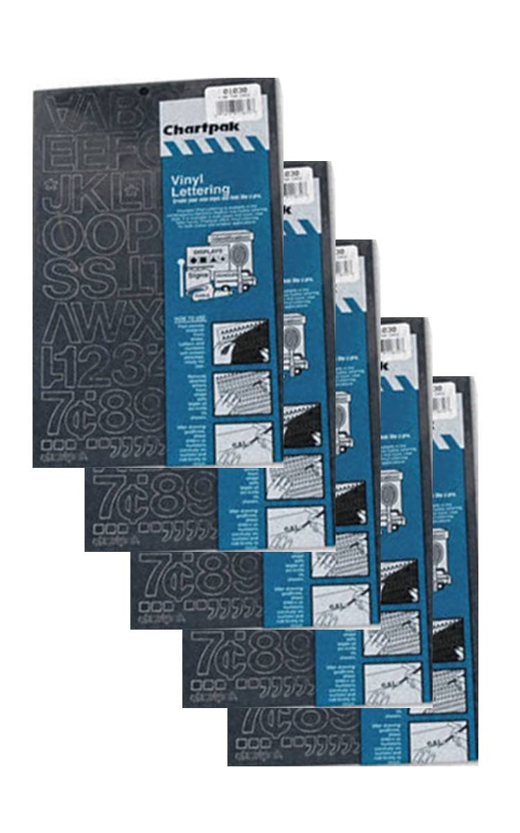 Chartpak 1-inch Black Stick-on Vinyl Letters & Numbers (01030), 5 PACKS