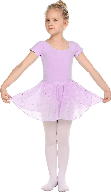 Maillot de ballet para ni/ña manga corta, con tut/ú, algod/ón Bricnat
