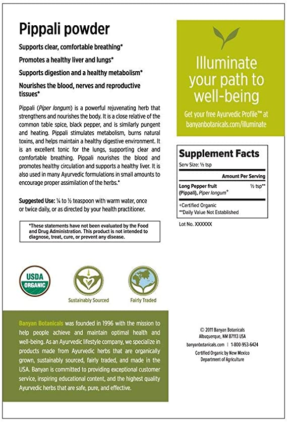 Amazon Com Banyan Botanicals Organic Pippali Powder Certified Usda Organic 1 2 Lb Piper Longum Long Pepper Ayurvedic Cooking Spice With Digestive And Respiratory Benefits Health Personal Care