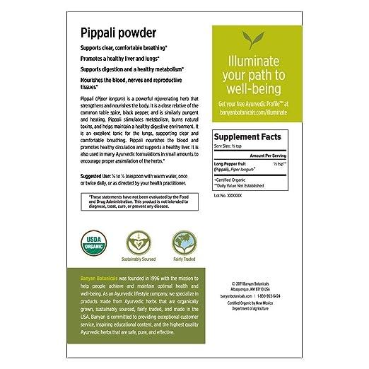 Amazon.com: Banyan Botanicals Organic Pippali Powder - Certified USDA Organic, 1/2 lb - Piper longum - Long Pepper - Ayurvedic Cooking Spice with Digestive ...