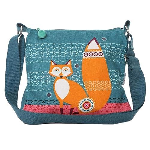 a00d35161a Fox Shoulder Bag Canvas Crossbody Ladies Teal Blue Orange Cotton Across  body Cross Body Handbag Sling Bag  Amazon.co.uk  Shoes   Bags