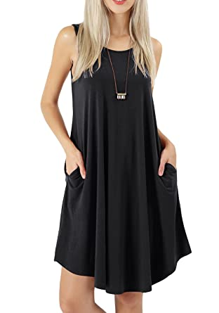 f20e3d566988 peassa Women Swing Beach Dress Tunic Pockets Tank Summer Dress for Women  Black S
