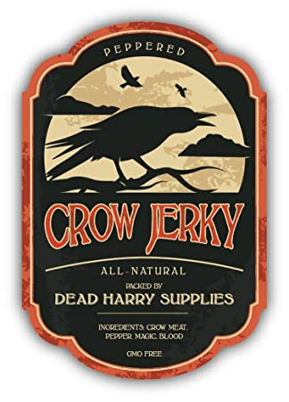 Halloween potion crow jerky vintage sticker decal design 3